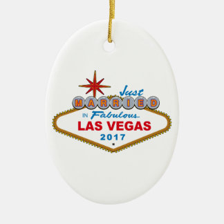 Just Married In Fabulous Las Vegas 2017 (Sign) Ceramic Oval Ornament