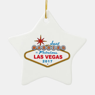 Just Married In Fabulous Las Vegas 2017 (Sign) Ceramic Star Ornament