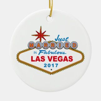 Just Married In Fabulous Las Vegas 2017 (Sign) Round Ceramic Ornament