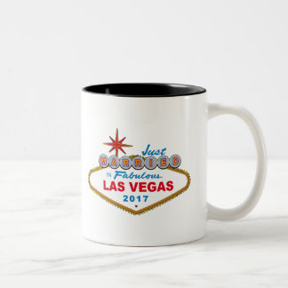 Just Married In Fabulous Las Vegas 2017 (Sign) Two-Tone Coffee Mug