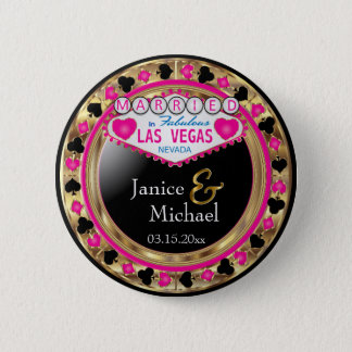 Just Married in Fabulous Las Vegas | Pink 2 Inch Round Button