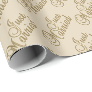 Just Married in Gold Script Font on Beige Wrapping Paper