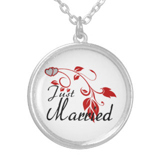 Just Married Joined Hearts Floral Vines Round Pendant Necklace