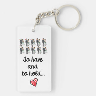 Just Married key ring Double-Sided Rectangular Acrylic Keychain