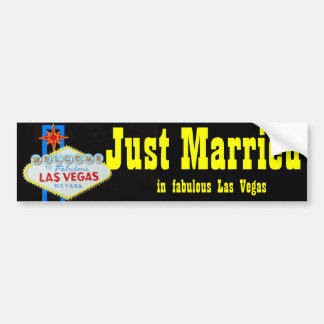 Just Married Las Vegas Welcome Sign Bumper Sticker