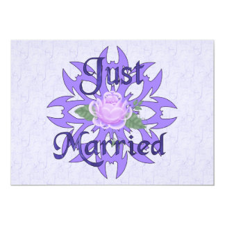 "Just Married Lavender Rose 5"" X 7"" Invitation Card"