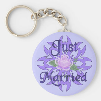 Just Married Lavender Rose Basic Round Button Keychain