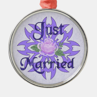 Just Married Lavender Rose Metal Ornament