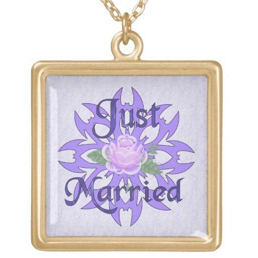 Just Married Lavender Rose Pendant