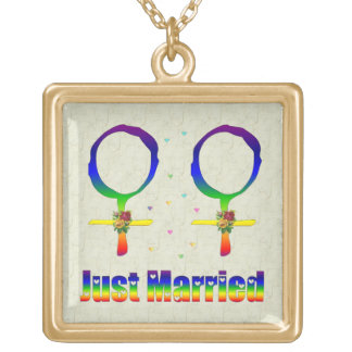 Just Married Lesbians Gold Plated Necklace