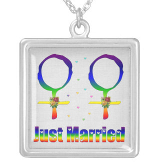 Just Married Lesbians Silver Plated Necklace