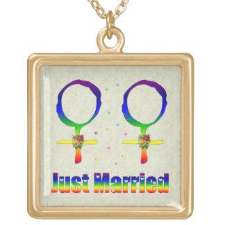 Just Married Lesbians Square Pendant Necklace