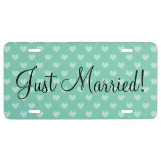 Just Married license plate with heart pattern