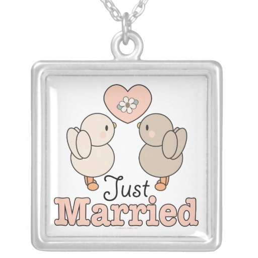 Just Married Love Birds Necklace