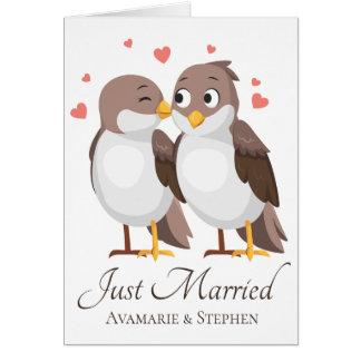 Just Married Lovebirds Brown & White Wedding Birds Card