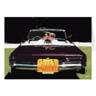 """just married"" male wedding GREETING CARD"