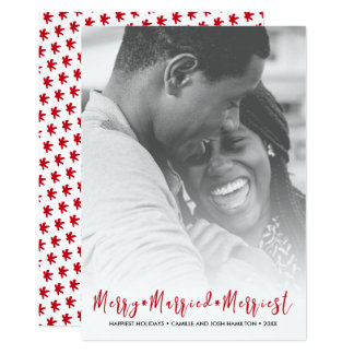 Just Married Merriest Christmas Holiday Photo Card
