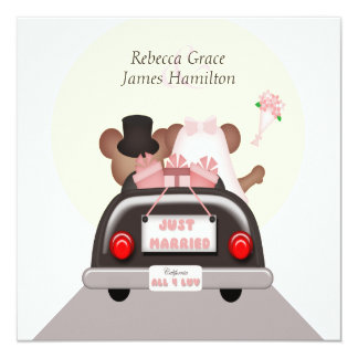 Just Married Mouse Bride and Groom Wedding Card
