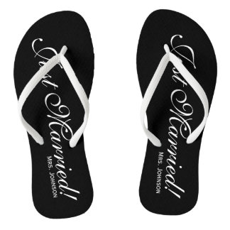 Just Married Mr Mrs flip flops for bride and groom