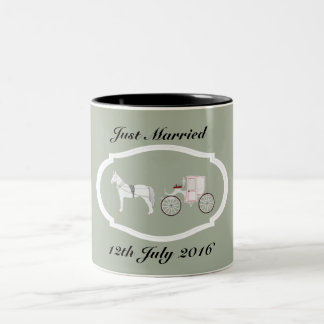 Just Married Mug with Framed Horse and Carriage