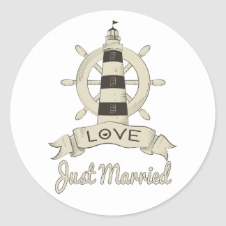 Just Married Nautical Ship Anchor Tan Wedding Classic Round Sticker