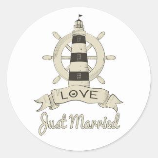 Just Married Nautical Ship Anchor Tan Wedding Round Sticker