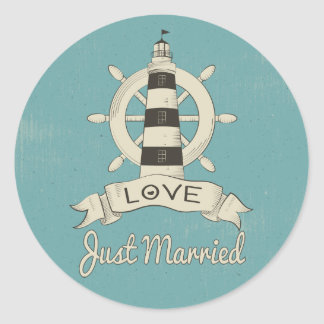Just Married Nautical Ship Anchor Teal Wedding Round Sticker