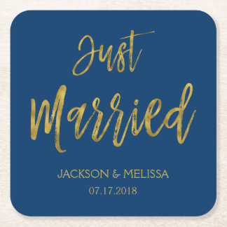 Just Married Navy Blue and Gold Foil Coasters