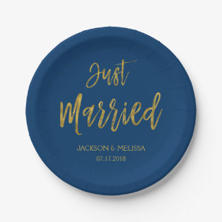Just Married Navy Blue and Gold Foil Paper Plates