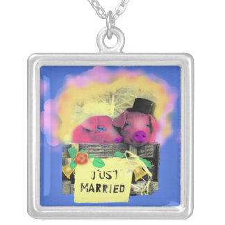 Just married/necklace square pendant necklace