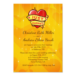 """Just Married"" One Heart One Love Post Wedding Card"
