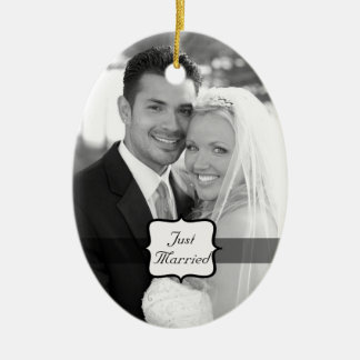 Just Married Oval Photo Ornament Black & White