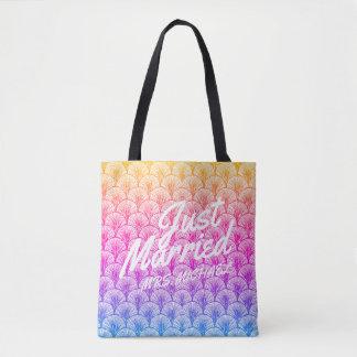 Just Married Personalized Honeymoon Mermaid Tote Bag