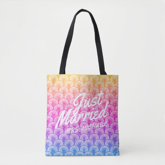 Just Married Personalized Honeymoon Mermaid Tote Bag