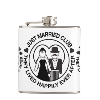 Just Married Personalized Wedding Flask Gift