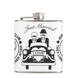 Just Married Personalized Wedding Flask LGBT