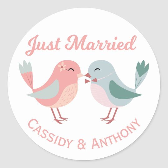 Just Married Pink & Blue Lovebirds Wedding Classic Round Sticker