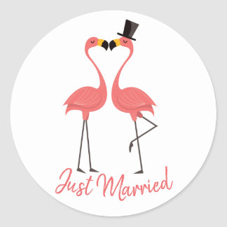 Just Married Pink Flamingo Tropical Beach Wedding Classic Round Sticker