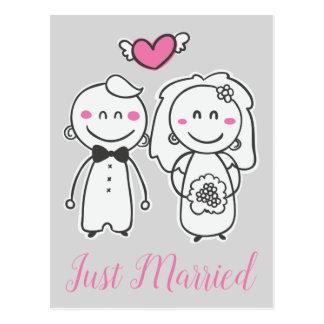Just Married Pink Gray Wedding Bride & Groom Postcard