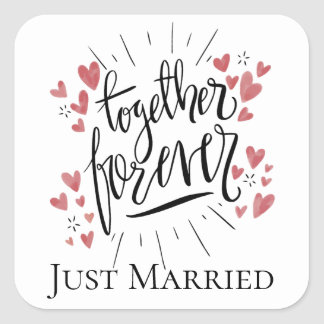 Just Married Pink Hearts Forever Together Wedding Square Sticker