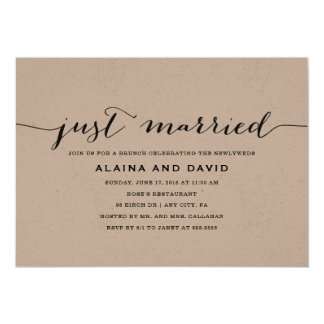 Just Married Post-Wedding Brunch - Kraft Card