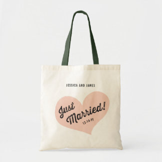 Just Married Retro Heart Tote Bag