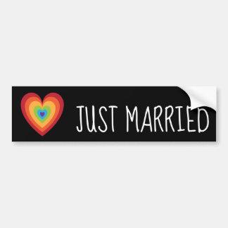 Just Married Retro Rainbow Heart for Newlweds Bumper Sticker