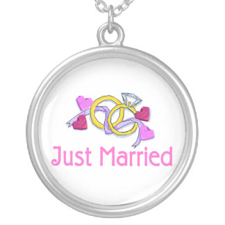Just Married Rings Round Pendant Necklace
