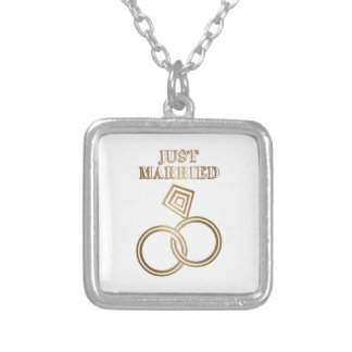 Just Married Romantic Gold Rings Wedding Silver Plated Necklace