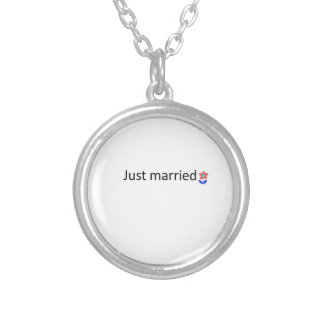 just married round pendant necklace