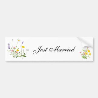 Just Married rustic flower bouquet Bumper Sticker