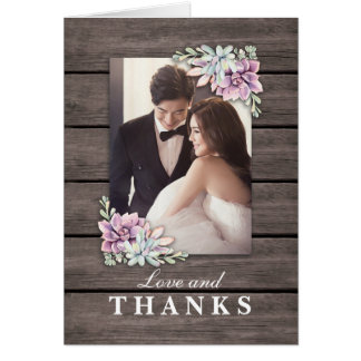 Just Married | Rustic Succulent Wedding Thank You Card