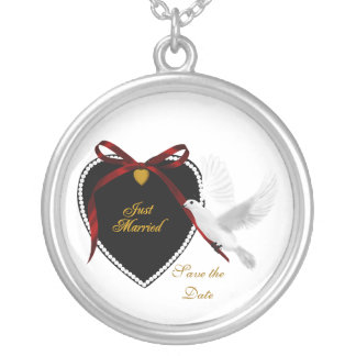 Just Married Save the Date Round Pendant Necklace