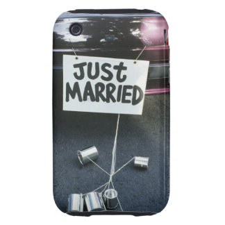 Just Married sign on back of car Tough iPhone 3 Covers